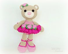 The ballerina bear will bring the sparkle into the eyes of every little girl who loves ballerinas. This teddy-bear is about 30 cm (11.8 inches) tall if using similar yarns.