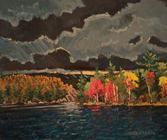 12 Thunder Over George Lake, Killarney Provincial Park Ontario Oil On Birch…