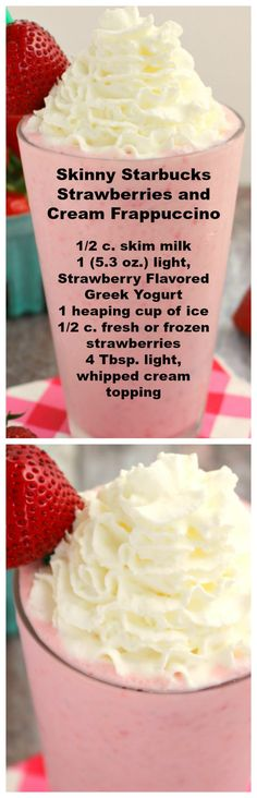 Under 200 calories, this Strawberries and Cream Frappuccino recipe is amazing! This Copycat Strawberry Frappuccino Starbucks recipe tastes just like it! Smoothie Drinks, Healthy Smoothies, Healthy Drinks, Smoothie Recipes, Smoothie Diet, Yummy Drinks, Yummy Food, Tasty, Starbucks Drinks