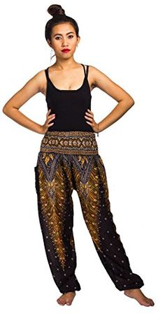 Lofbaz Women's Peacock Print Smocked Waist Harem Pants - One size fits most ; Loose fit and flowy pants Comfortable elastic waist ; Waist circumference unstretched inch) and fully stretched inch) Elastic around the ankles Flowy Pants, Casual Pants, Women's Casual, Cargo Pants, Yoga Pants, Women's Pants, Peacock Print, Pants For Women, Clothes For Women