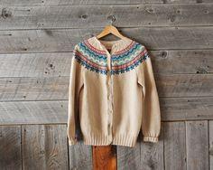 vintage hand knit wool cardigan from WindyPeakVintage on Etsy