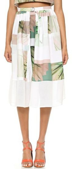 Tibi Fiore di Cactus Skirt with Mesh on shopstyle.com