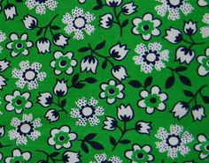 1960's green daisy fabric