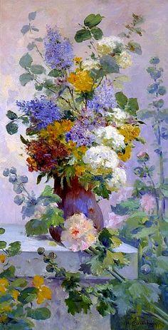 Eugene Henri Cauchois  Summer Flowers with Hollyhocks  Late 19th century