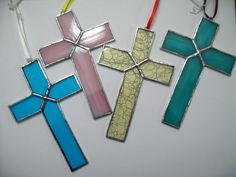 Stained glass cross pink by RedMapleGroveCrafts on Etsy Stained Glass Angel, Stained Glass Ornaments, Making Stained Glass, Stained Glass Christmas, Stained Glass Suncatchers, Stained Glass Designs, Stained Glass Projects, Stained Glass Patterns, Stained Glass Windows