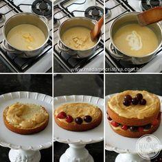 Naked Cake com frutas vermelhas - Receita e Dicas de Como fazer - Passo a Passo - step by step with pictures - Recipe - Madame Criativa www.madamecriativa.com.br