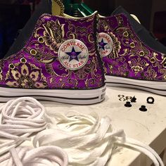 Work in Progress . . .  Converse All Star, Oriental Flowers! #handmade with passion by #matthewsmilano  #custom #sneakers #flowers #passion #art #creativity #love #studs #milan #italy