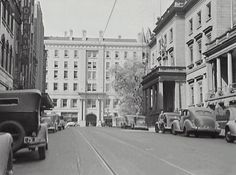 View from Bligh St, with the Union Club (2 Bligh St) at R. The Union Club was designed by William Wardell in 1884 and was later demolished for the construction of the Wentworth Hotel.  1940s ?