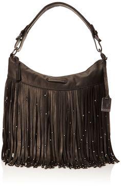 Amazon.com: FRYE Heidi Stud Fringe Hobo, Black, One Size: Clothing