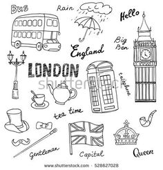 Set of England symbols,landmarks.Black and white sketch.Hand drawn set with crown,Big Ben, red bus,flag,tea pot, vector illustration isolated,words:London,rain, capital,Queen,gentleman,hello,tea time