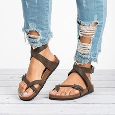 efbe496579f2d Ankle Strap Buckle Flip Flop Gladiator Thong Flat Sandals Cute Shoes
