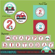 colorful-transportation-birthday-party (cute and inexpensive - includes invitation)