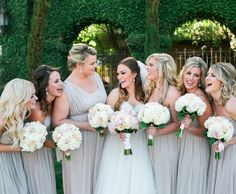 What we call Biscotti, these neutral bridesmaid dresses complement any pop of color for your wedding day. Find your perfect wedding palette at David's Bridal | Shannon Worley Photography