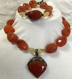 Faceted Carnelian and Citrine Necklace with by MonteforteDesigns FREE SHIPPING 20% OFF