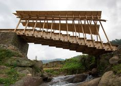 Huge timber steps form bridge built by students in rural China
