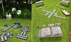love the yard scrabble idea . and it seems so simple! Wedding Activities, Wedding Games, Wedding Reception, Our Wedding, Wedding Dress, Circus Vintage, Sag Ja, Wood Games, Picnic Time