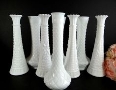 Vintage Milk Glass Vases Set of 8 Vase Collection. Perfect for a wedding, bridal or baby shower, party - any special occasion.  This set
