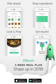 Pre-planned, easy-to-cook meals and shopping lists to go with them. We've done the thinking; you do the eating. Download Lifesum today, and kickstart 2018 the healthiest way.