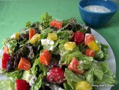 A healthy #recipe of blue cheese #salad dressing! It has no mayonnaise or sour cream - just cottage cheese and yogurt which makes it high in protein and low in calories & fat