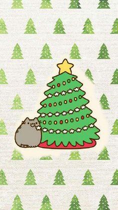 Pusheen Weihnachten Wallpaper - Pusheen the Cat - Cat Wallpaper Funny Christmas Wallpaper, Holiday Wallpaper, Winter Wallpaper, Cat Wallpaper, Kawaii Wallpaper, Iphone Wallpaper, Colorful Wallpaper, Pusheen Christmas, Christmas Cats