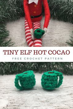 The Tiny Elf Hot Cocoa free crochet pattern is a quick and easy accessory for your favorite holiday visitor! The pattern can also be transformed into little ornaments or earrings. Crochet Ornament Patterns, Holiday Crochet Patterns, Crochet Patterns For Beginners, Easy Crochet Patterns, Amigurumi Patterns, Crochet Home, Free Crochet, Crochet Christmas Gifts, Christmas Ornaments