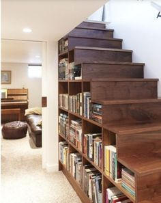 Storage, Astonishing Custom Wooden Bookshelves Inside Stairs In Mahogany Design Ideas Custom Bookcase Stairs Design Wooden Stairs Without Handle In Modern Living Room Interior ~ Compact Under Stair Storage Ikea to Utilize Under Stair Space Basement Remodeling, Remodeling Ideas, Basement Ideas, House Remodeling, Bedroom Remodeling, Home Fashion, Modern Fashion, My Dream Home, Dream Homes