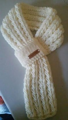 Adjustable Children or Adults Hand Knit Scarf / Neck Warmer in 3 Colors . Adjustable Children or Adults Hand Knit Scarf / Neck Warmer in 3 Colors with Handmade Leather Label # adjustable. Crochet Scarves, Crochet Shawl, Crochet Stitches, Knit Crochet, Crochet Braid, Loom Bands, Knitting For Kids, Free Knitting, Loom Knitting Patterns