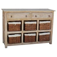 """Offering ample storage for any room, this mango wood cabinet features 2 drawers and 6 woven wicker baskets.  Product: CabinetConstruction Material: Wood and metalColor: SandstoneFeatures:  Two drawersSix woven storage basketsDimensions:  37"""" H x 53"""" W x 18"""" D"""