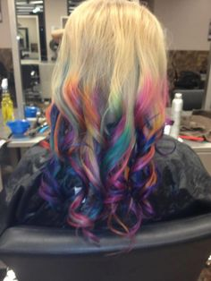 Rainbow Dip Dyed Hair