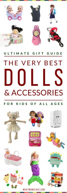 Best Toys & Gifts for Doll Lovers | Our top picks have been extensively tested by kids & rated highly in playability, longevity and fun. Guide includes specific product recommendations for the best babies, dolls & doll accessories (think strollers, high chairs, beds & more). Plus BONUS - where to find American Girl doll clothes for cheap! Amazing gift ideas for girls, boys, toddlers & tweens for the Holidays, a birthday or other special occasion. Click to access the top picks, or pin for…