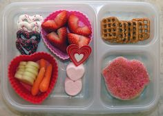 Valentines Day Lunch...I'd have to add a second box with a heart shaped sandwich or something...this would not be enough for my girl-child