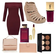 """tan and burgundy"" by ashleyclappison4 ❤ liked on Polyvore featuring Madden Girl, Givenchy, Miss Selfridge, Christian Louboutin, GiGi New York, Yves Saint Laurent, Dolce&Gabbana and Anastasia Beverly Hills"