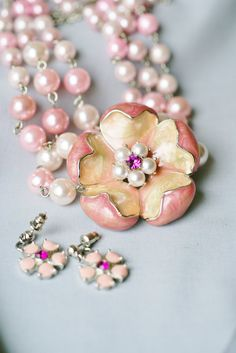 Pink pearl three strand statement necklace with large flower pendant and pierced earrings on Etsy, $48.50
