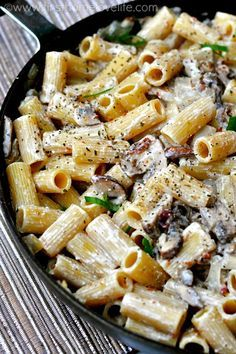 I just made this for dinner but substituted the ricotta for goat cheese, the bacon for turkey bacon, & the rigatoni for whole wheat & it still tastes awesome!