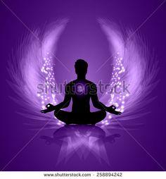 man meditate purple abstract radius background, yoga. angel wings