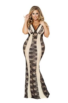 Sexy Roma Black Nude Two Tone Floral Lace Gown Lingerie Regular and Plus Sizes
