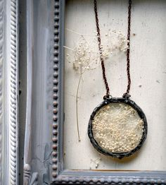 Soldered Glass Circle Baby's Breath Pendant | Heron and Lamb