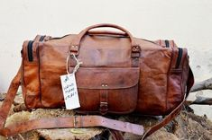 d2811c38c8 Handmade Wholesale 5 Bags Men s Real Leather Tote Luggage Travel Duffle Gym  Bag Adjustable Straps Brown Unisex Adult India Genuine Goat Messenger Dhl  ...