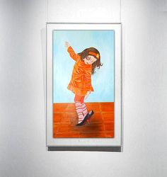 Little girl oil painting 28x16i Orange Wall by OilpaintingsChrista