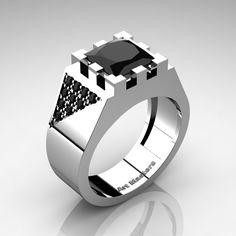 King - Mens Regal 14K White Gold 3.0 Ct Princess Black Moissanite Wedding Ring R914K-14KWGM by Art Masters Jewelry