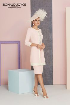New into stock we have this Ronald Joyce 991314 from their new Spring Summer 2018 collection. This is a stylish Mother of the Bride and Special Occasion dress in Vintage/Rose and also in Ivory complete with a matching jacket.