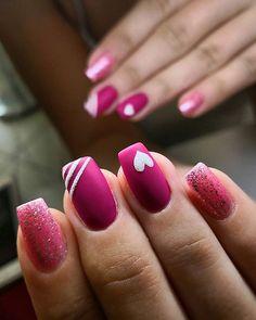 Valentine's day Nail ideas💝 Fall Nail Art Designs, Acrylic Nail Designs, Acrylic Nails, Pink Nail Art, Pink Nails, Nagel Gel, Hot Nails, Creative Nails, Stylish Nails