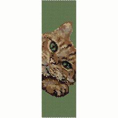 Green Eyed Cat Peyote Bead Pattern, Bracelet Cuff, Seed Beading Pattern Miyuki Delica Size 11 Beads - PDF Instant Download