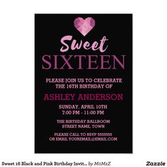 Sweet 16 Black and Pink Birthday Invitation