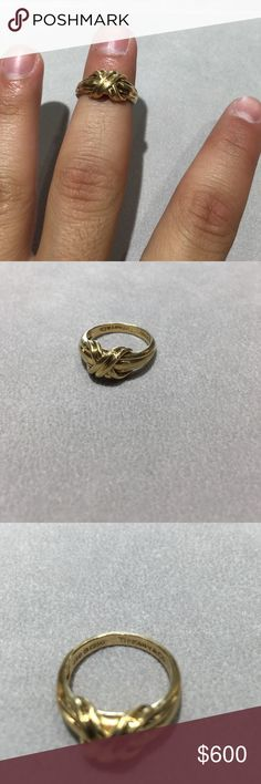 Tiffany & Co 18Kt 1990 Size 6 1/2 Tiffany & Co 18 Kt Yellow Gold 1990 Ring with X Cross Over Design Size 6 1/2. Used no box or papers. Tiffany & Co. Jewelry Rings