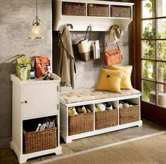 idée sur le meuble de rangement avec paniers tressés