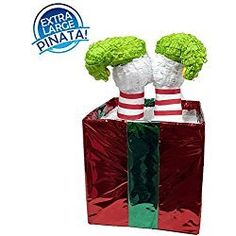 "Christmas Elf in Box Pinata, 24"" Decoration, Party Game and Photo Prop"