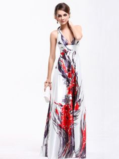 Ever Pretty Empire Waist Padded Floral Print Sexy Plunge V-neck Prom Dress