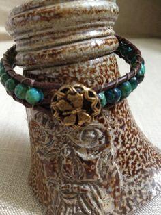 Leather wrap ladder bracelet  Blue green gemstones by yknotjewelry, $40.00