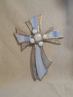 Stained Glass Cross Contemporary Light Blue Wall by StewArtStuff